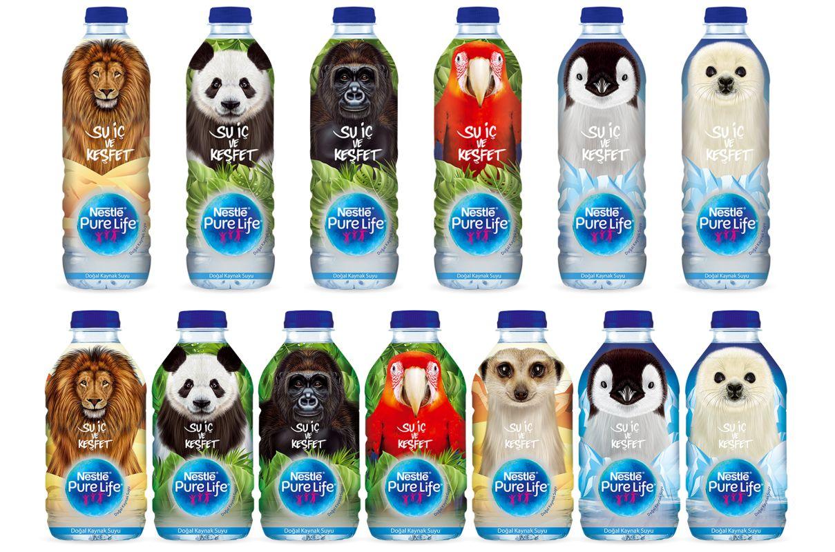 Nestlé Pure Life şişeleri hayvanlar alemini buluşturdu